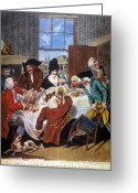 Intoxicated Greeting Cards - Dining At A Tavern, 1787 Greeting Card by Granger