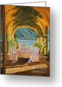 Lake Como Greeting Cards - Dining on Lake Como Greeting Card by Charlotte Blanchard