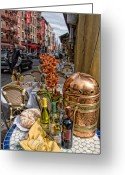 Little Italy Greeting Cards - Dining Outside Greeting Card by June Marie Sobrito