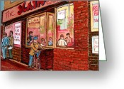 Resto Bars Greeting Cards - Dinner At The Main Steakhouse Greeting Card by Carole Spandau