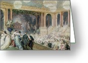 Posh Painting Greeting Cards - Dinner at the Tuileries Greeting Card by Henri Baron