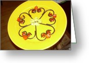Music Glass Art Greeting Cards - Dinner Plate Flowers Greeting Card by Diane Morizio
