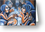 Illustrative Greeting Cards - Dinner With Friends Greeting Card by Carmen Tyrrell
