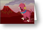 Vector Image Digital Art Greeting Cards - Dino Greeting Card by Kyle Harper