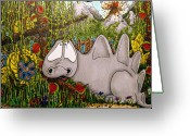 Reds Greeting Cards - Dino Greeting Card by Ross Powell