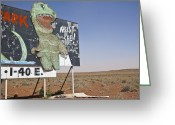 Dinosaurs Greeting Cards - Dinosaur Attraction Billboard Greeting Card by Paul Edmondson