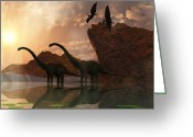 Pterodactyl Greeting Cards - Dinosaur Dawn Greeting Card by Corey Ford