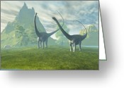 Wondrous Digital Art Greeting Cards - Dinosaur Land Greeting Card by Corey Ford
