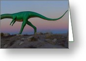 Dinosaur Greeting Cards - Dinosaur Loose on Route 66 2 Greeting Card by Mike McGlothlen