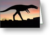 Night Scene Greeting Cards - Dinosaur Loose on Route 66 Greeting Card by Mike McGlothlen