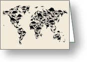 Dinosaur Greeting Cards - Dinosaur Map of the World Map Greeting Card by Michael Tompsett