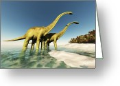 Vertebrate Greeting Cards - Dinosaur World Greeting Card by Corey Ford