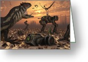 Threat Greeting Cards - Dinosaurs And Robots Fight A War Greeting Card by Mark Stevenson