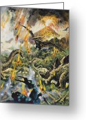 Raining Painting Greeting Cards - Dinosaurs and Volcanoes Greeting Card by English School