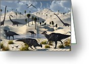 Theropod Greeting Cards - Dinosaurs Gather At A Life Saving Oasis Greeting Card by Mark Stevenson