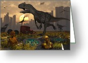 Pterodactyl Greeting Cards - Dinosaurs Run Wild And Robotic Androids Greeting Card by Mark Stevenson