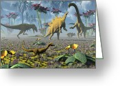 Dinosaurs Digital Art Greeting Cards - Dinosaurs Running Around An Imaginative Greeting Card by Mark Stevenson