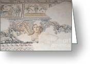 Byzantine Photo Greeting Cards - Dionysus Mosaic Mona Lisa of the Galilee Greeting Card by Ilan Rosen