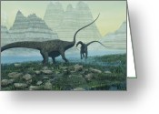 Wondrous Digital Art Greeting Cards - Diplodocus Greeting Card by Corey Ford