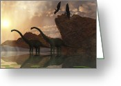 Pterodactyl Greeting Cards - Diplodocus Dinosaurs And Pterodactyl Greeting Card by Corey Ford