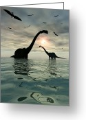 Pterodactyl Greeting Cards - Diplodocus Dinosaurs Bathe In A Large Greeting Card by Mark Stevenson