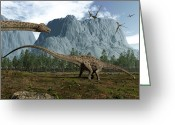 Pterodactyl Greeting Cards - Diplodocus Dinosaurs Graze While Greeting Card by Walter Myers