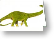 Reptiles Painting Greeting Cards - Diplodocus Greeting Card by Michael Vigliotti