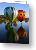 Hot Air Balloon Photo Greeting Cards - Dipping the Basket Greeting Card by Mike  Dawson