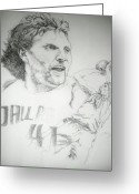 Championship Drawings Greeting Cards - Dirk Nowitzki Greeting Card by Otis  Cobb