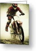 Splashing Greeting Cards - Dirt Bike Rider Greeting Card by Thorpeland Photography
