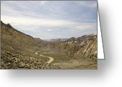 Grand Staircase - Escalante National Monument Greeting Cards - Dirt Road In Between Hills Greeting Card by Ned Frisk