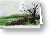 Fence Reliefs Greeting Cards - Dirt Road Greeting Card by Mariann Taubensee