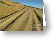 Country Dirt Roads Photo Greeting Cards - Dirt road winding Greeting Card by Sami Sarkis