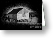 Black Cloud Greeting Cards - Dirty Little BoatHouse Greeting Card by Luke Moore