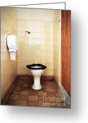 Urinal Greeting Cards - Dirty public toilet Greeting Card by Richard Thomas