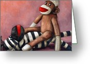 Monkey Greeting Cards - Dirty Socks 3 Playing Dirty Greeting Card by Leah Saulnier The Painting Maniac