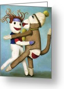 Doll Painting Greeting Cards - Dirty Socks Dancing The Tango Greeting Card by Leah Saulnier The Painting Maniac