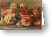 Floor Painting Greeting Cards - Discarded Roses  Greeting Card by Pierre Auguste Renoir