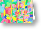 Bright Pastels Greeting Cards - Disco Flowers Greeting Card by Tadeush Zhakhovskyy