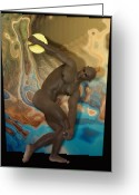 Color Nudes Greeting Cards - Discobolus of Africa Greeting Card by Joaquin Abella Ojeda