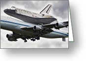 Spacecraft Greeting Cards - Discovery Shuttle Heading to Dulles Airport Greeting Card by Tamara Stoneburner