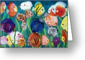 Aquarium Painting Greeting Cards - Discus Fantasy Greeting Card by Debbie LaFrance