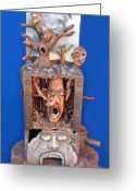 Whimsical Sculpture Greeting Cards - Disgruntled Again Greeting Card by Stuart Swartz