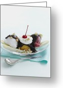 Nut Chocolate Greeting Cards - Dish Of Banana Split Sundae Greeting Card by Cultura/BRETT STEVENS