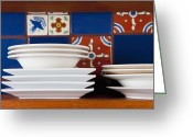 Wooden Bowls Greeting Cards - Dishes in Front of Colorful Tile Greeting Card by Thom Gourley/Flatbread Images, LLC