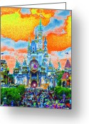 Disneyland Greeting Cards - Disney at Fifty Greeting Card by David Lee Thompson