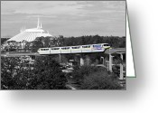 Travelpixpro Greeting Cards - Disney World Monorail Color Splash Black and White Prints Greeting Card by Shawn OBrien