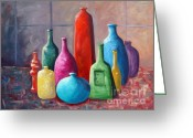 Jugs Greeting Cards - Display Bottles Greeting Card by Phyllis Howard