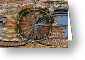 Battery Park Greeting Cards - Distorted Lower Manhattan Greeting Card by Susan Candelario
