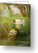 Wicker Chair Greeting Cards - Distressed photo of wash day  Greeting Card by Sandra Cunningham
